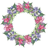 Watercolor round frame set with pink tulip and iris flowers Stock Photo