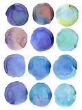 Watercolor round. Set of hand drawn watercolor circles, isolated on white background. Shape design royalty free illustration