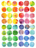 Watercolor round. Set of hand drawn watercolor circles, isolated on white background. Shape design stock illustration