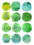 Watercolor round. Set of hand drawn watercolor circles, on white background. Shape design royalty free illustration