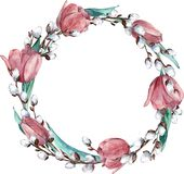 Watercolor round spring wreath with rose tulips and pussy-willow, isolated on white background - Illustration stock illustration