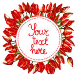 WATERCOLOR round wreath border frame WITH PAINTED RED TULIPS. Watercolor illustration round wreath border frame of beautiful red tulip buds flowers for your text royalty free illustration