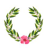 Watercolor round wreath with green eucalyptus leaves and branches. royalty free illustration