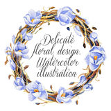 Watercolor round wreath with magnolia and intertwining branches. Stock Photography