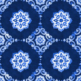 Watercolor royal blue filigree seamless pattern. Watercolor royal blue velour seamless pattern, renaissance tiling ornament. Delicate filigree openwork lace Royalty Free Stock Images