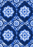 Watercolor royal blue velour seamless pattern. Renaissance tiling ornament. Delicate filigree openwork lace pattern. Blue velvet revival tracery design. Denim Stock Images