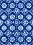 Watercolor royal blue velour seamless pattern. Renaissance tiling ornament. Delicate filigree openwork lace pattern. Blue velvet revival tracery design. Denim Royalty Free Stock Photos