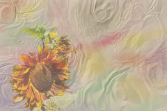Watercolor ruffled paper with a brown sunflower Stock Photo