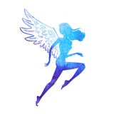 Watercolor runner angel. Vector illustration of running woman silhouette of watercolor paint texture shape with wings Stock Photo