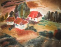 Watercolor rural house in green summer day illustration. Watercolor rural house in green summer day Royalty Free Stock Images