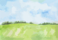 Watercolor rural landscape. Stock Photography