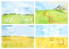 Watercolor rural landscape. Stock Photo