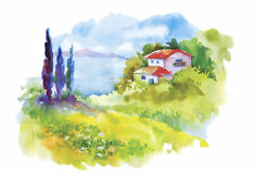 Watercolor rural village in green summer day illustration.  Stock Image