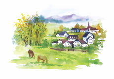 Watercolor rural village in green summer day illustration Royalty Free Stock Photo