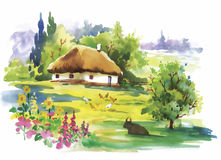 Watercolor rural village in green summer day illustration.  Royalty Free Stock Photo