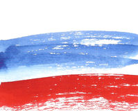 Watercolor Russian Flag, abstract banner of Russia Stock Images