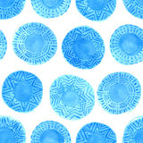 Watercolor rustic blue circles pattern Royalty Free Stock Photo