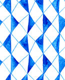 Watercolor rustic blue rhombuses pattern Stock Images