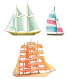 Watercolor sailboats set Stock Images