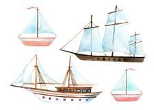 Watercolor sailing ships set Stock Images