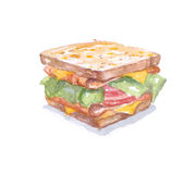 Watercolor sandwich, tasty food. Fastfood watercolor sandwich for breakfast. Dish for caffes menu Stock Photos