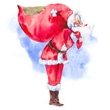 Watercolor Santa Claus with huge bag Stock Photography