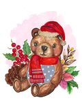 Watercolor Santa Claus red hat and Scarf RetroTeddy Bear stock illustration