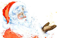 Watercolor Santa Claus. Santa Claus Christmas background. New Year background. Stock Photography