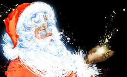 Watercolor Santa Claus. Santa Claus Christmas background. New Year background. vector illustration