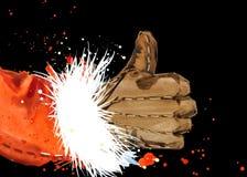 Watercolor Santa Claus. Santa Claus hand. Ok gesture. Royalty Free Stock Image