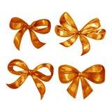 Watercolor satin orange bow set. Hand painted illustration. Stock Image