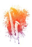 Watercolor Saxophone. Retro Music Party Texture Background Royalty Free Stock Image