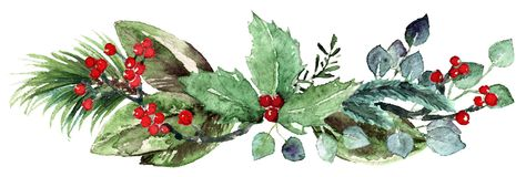 Watercolor Scandinavian Christmas Composition. Hand drawn winter decoration. Magnolia leaves, rosemary branch, spruce, eucalyptus, holly and pinecones bouquet Stock Photography