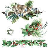 Watercolor Scandinavian Christmas Composition Set. Hand drawn winter decoration. Magnolia leaves, spruce, eucalyptus, holly and pinecones bouquets Stock Photos