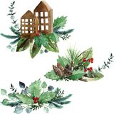 Watercolor Scandinavian Christmas Composition Set. Hand drawn winter decoration. Magnolia leaves, spruce, eucalyptus, holly and pinecones bouquets. Tiny Royalty Free Stock Photos
