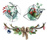 Watercolor Scandinavian Christmas Composition Set. Hand drawn winter decoration. Magnolia leaves, spruce, eucalyptus, holly and pinecones bouquets in a glass Stock Images