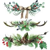 Watercolor Scandinavian Christmas Composition Set. Hand drawn winter decoration. Magnolia leaves, spruce, eucalyptus, twigs, holly and pinecones bouquets Stock Photo