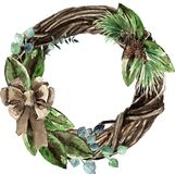 Watercolor Scandinavian Christmas Wicker Wreath. Hand drawn winter decoration. Magnolia leaves, spruce, twigs, eucalyptus and pinecones bouquet, decorated with Royalty Free Stock Photos