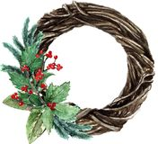 Watercolor Scandinavian Christmas Wicker Wreath. Hand drawn winter decoration. Magnolia leaves, spruce, twigs, eucalyptus and holly bouquet. Round winter Stock Photos