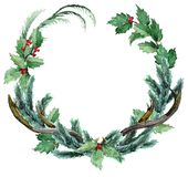 Watercolor Scandinavian Christmas Wreath Royalty Free Stock Photography