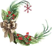 Watercolor Scandinavian Christmas Wreath Royalty Free Stock Image