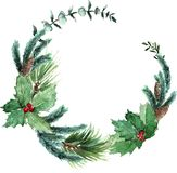 Watercolor Scandinavian Christmas Wreath. Hand drawn winter decoration. Magnolia leaves, spruce, eucalyptus, holly and pinecones bouquet. Round winter floral Stock Photography