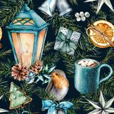 Watercolor scandinavian pattern of Christmas. Hand painted lantern, bells, robin, cookies, orange slice, cacao cup. Cinnamon and pine branch isolated on blue royalty free illustration