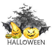 Watercolor scary night, flock of bats and holidays pumpkins. Halloween holiday illustration. Magic, symbol of horror. Vampires. Can be use in holidays design Royalty Free Stock Photography