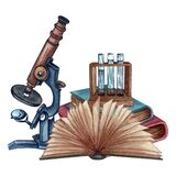 Watercolor science composition of books, test tube rack and a microscope. Vintage hand drawn illustration. Open book, close books