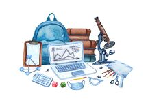 Watercolor science equipment of backpack, microscope, books, laptop, pencils, face mask, calculator, ruller. Hand drawn