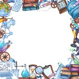 Watercolor science frame of laboratpry equipment, microscope, magnifying glass, hourglass, chemistry tools, books. Hand