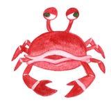 Watercolor sea animal cartoon crab