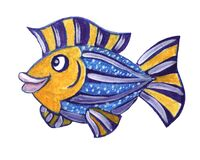 Watercolor sea animal cartoon fish