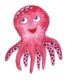 Watercolor sea animal cartoon octopus